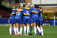Chelsea Women team huddle ahead of Chelsea Women vs Manchester City Women, FA Women's Super League FA WSL1 Football at Kingsmeadow on 9th September 2018
