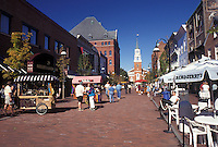 pedestrian street, Burlington, VT, Vermont, Shops along Church Street Market Place in downtown Burlington, VT.