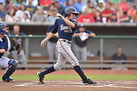 Mississippi Braves center fielder Kyle Wren #14 swings at a pitch during a game against the Tennessee Smokies at Smokies Park on July 21, 2014 in Kodak, Tennessee. The Braves defeated the Smokies 4-3. (Tony Farlow/Four Seam Images)