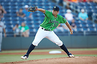Gwinnett Stripers starting pitcher Tucker Davidson (56) in action against the Scranton/Wilkes-Barre RailRiders at Coolray Field on August 16, 2019 in Lawrenceville, Georgia. The Stripers defeated the RailRiders 5-2. (Brian Westerholt/Four Seam Images)