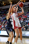 SIOUX FALLS, SD - MARCH 8: Hannah Sjerven #34 of the South Dakota Coyotes takes the ball to the basket against the Oral Roberts Golden Eagles at the 2020 Summit League Basketball Championship in Sioux Falls, SD. (Photo by Dave EggenInertia)