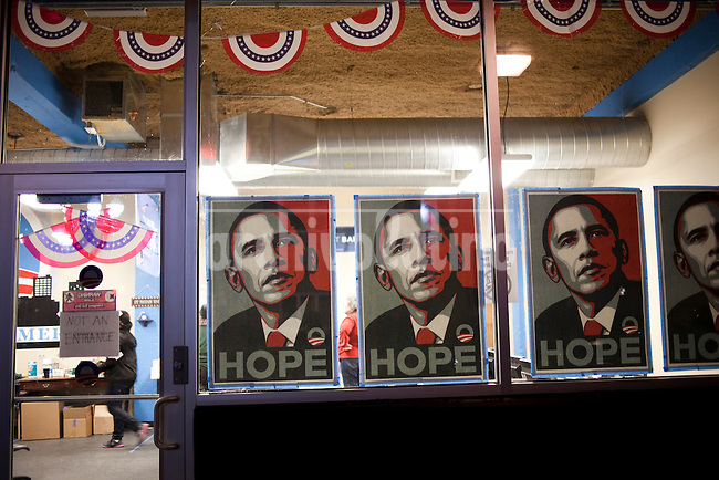 "US Presidential Election 2012: The Obama For America office in downtown Canton..Canton, OH, is the 73,000 resident county seat of Stark County in North-Eastern Ohio. Declared a ""bell weather"" county by pundits and media, the electorate here seems to have an uncanny knack for picking the winner in recent presidential elections..November 6, 2012."