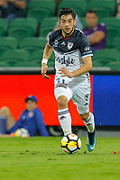 25th March 2018, nib Stadium, Perth, Australia; A League football, Perth Glory versus Melbourne Victory; Christian Theoharous of Melbourne Victory breaks forward with the ball during the second half