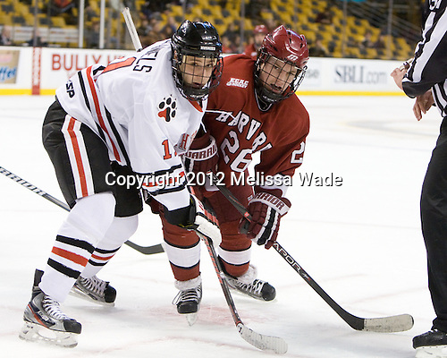 Justin Daniels (Northeastern - 11), Luke Greiner (Harvard - 26) - The Harvard University Crimson defeated the Northeastern University Huskies 3-2 in the 2012 Beanpot consolation game on Monday, February 13, 2012, at TD Garden in Boston, Massachusetts.