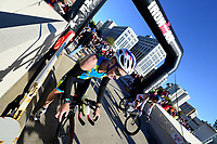 Dundee, Illinois' John Lorenz bikes down the Monona Terrace ramp during the 2015 Ironman competition on Sunday, September 13, 2015 in Madison, Wisconsin