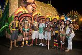 Imperatriz Leopolinense Samba School, Carnival, Rio de Janeiro, Brazil, 26th February 2017. Kamikiá Kisedje, Marcelo Kamayurá, Bemoro Metuktire, Carlos Doethyró Tukano, Beptirití Kayapó, Kotoki Kamayurá and two indigenous women.
