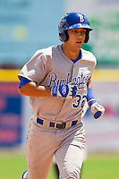 Kenneth Diekroeger (32) of the Burlington Royals rounds the bases after hitting a home run against the Princeton Rays at Hunnicutt Field on July 15, 2012 in Princeton, West Virginia.  The Royals defeated the Rays 2-0 in game one of a double header.  (Brian Westerholt/Four Seam Images)