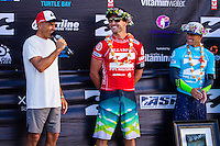 HONOLULU, Oahu, Banzai Pipeline - (Friday, December 14, 2012)  Joel Parkinson (AUS), Josh Kerr (AUS) and Kelly Slater (USA) on the stage after the final. -- The Billabong Pipe Masters wrapped up today with the crowning of the 2012 World Title going to Joel Parkinson (AUS) after Josh Kerr (AUS) defeated Kelly Slater (USA) in the second semi final..Photo: joliphotos.com