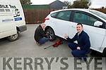 Gerard O'Leary helping Cian Dore with a flat tyre in Abbeydorney on Tuesday, as Gerard is offering his mobile tyre service to all health care worker as Gerard has free call out and free puncture repairs service
