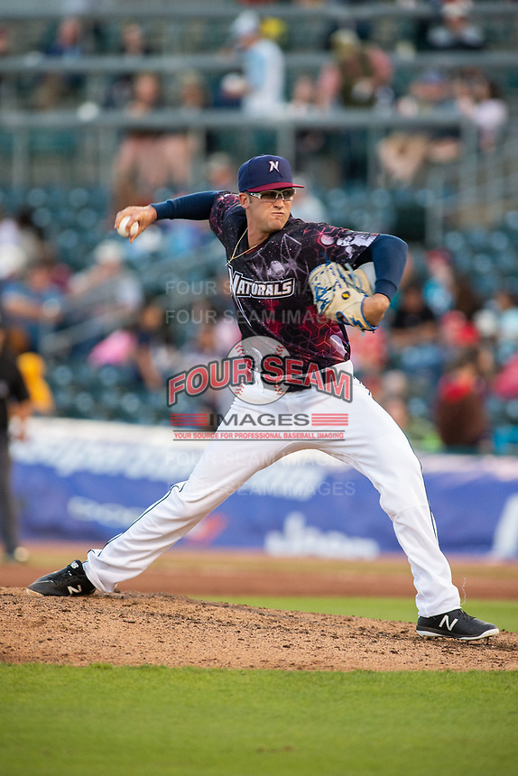 Northwest Arkansas Naturals pitcher Walker Sheller (41) delivers a pitch on May 4, 2019, at Arvest Ballpark in Springdale, Arkansas. (Jason Ivester/Four Seam Images)