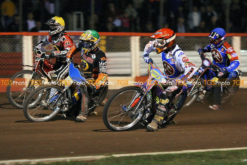 Heat 11: Risager (yellow), F Lindgren (green), Schlein (red) and Kling - Lakeside Hammers vs Wolverhampton Wolves - Sky Sports Elite League Speedway at Arena Essex, Purfleet - 17/09/08 - MANDATORY CREDIT: Gavin Ellis/TGSPHOTO - Self billing applies where appropriate - 0845 094 6026 - contact@tgsphoto.co.uk - NO UNPAID USE.