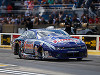 Jul 9, 2016; Joliet, IL, USA; NHRA pro stock driver Jason Line during qualifying for the Route 66 Nationals at Route 66 Raceway. Mandatory Credit: Mark J. Rebilas-USA TODAY Sports