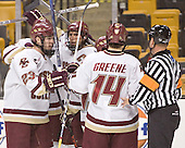 Brian O'Hanley, Peter Harrold, Chris Collins, Matt Greene - The Boston College Eagles defeated the Northeastern University Huskies 5-2 in the opening game of the 2006 Beanpot at TD Banknorth Garden in Boston, MA, on February 6, 2006.