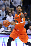 08 January 2014: Miami's Rion Brown. The University of North Carolina Tar Heels played the University of Miami Hurricanes in an NCAA Division I Men's basketball game at the Dean E. Smith Center in Chapel Hill, North Carolina. Miami won the game 63-57.