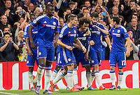 Celebrations as Willian of Chelsea scores to make it 2-1 during the UEFA Champions League Group G match between Chelsea and Dynamo Kyiv at Stamford Bridge, London, England on 4 November 2015. Photo by Andy Rowland.