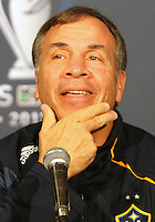 CARSON, CA - NOVEMBER 30, 2012: Coach Bruce Arena of the Los Angeles Galaxy during a press conference at Home Depot Center, in Carson, CA, before the 2012 MLS Cup, on November 30, 2012.