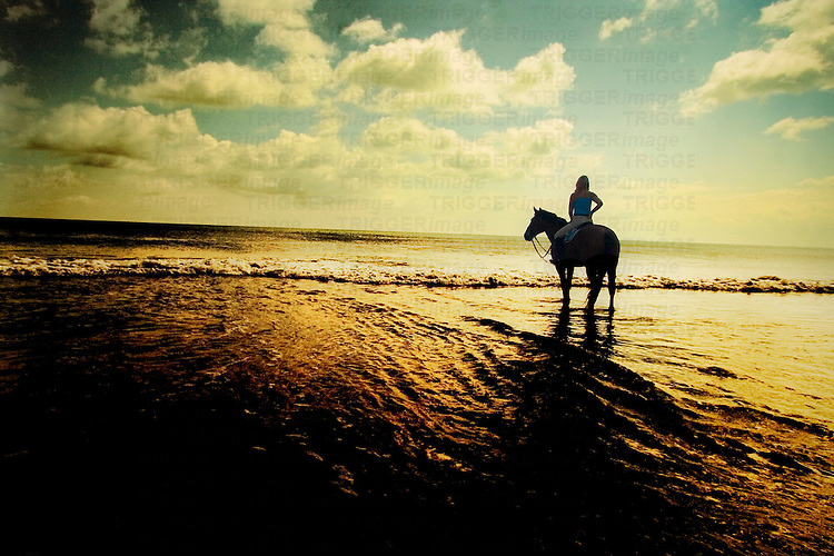 A young woman riding a horse silhouetted against an orange sunset reflected in the sea