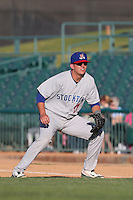 Ryon Healy #27of the Stockton Ports during a game against the Lancaster JetHawks at The Hanger on June 24, 2014 in Lancaster, California. Stockton defeated Lancaster, 6-4. (Larry Goren/Four Seam Images)