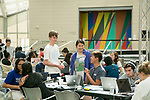 The study hall at the Nasher Museum of Art on Monday was a popular spot, where students enjoyed aromatherapy, warm cookies, fruit, coffee, hot chocolate, hourly art tours and yoga breaks.