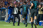 Chelsea's coach Antonio Conte and Alvaro Morata celebrating a goal during UEFA Champions League match between Atletico de Madrid and Chelsea at Wanda Metropolitano in Madrid, Spain September 27, 2017. (ALTERPHOTOS/Borja B.Hojas)