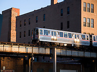 The Elevated L Commuter Train, Chicago, Illinois