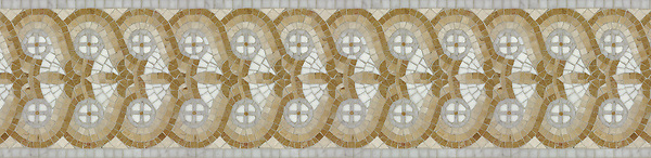 "9 7/8"" Stella border, a hand-cut stone mosaic, shown in polished Carrara, Thassos, Crema Marfil, Renaissance Bronze, and Giallo Reale."