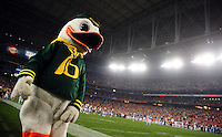 Jan 10, 2011; Glendale, AZ, USA; The mascot for the Oregon Ducks performs during the first half of the 2011 BCS National Championship game against the Auburn Tigers at University of Phoenix Stadium.  Mandatory Credit: Mark J. Rebilas-