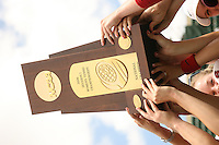 23 May 2006: The team holds the trophy after Stanford's 4-1 win over the Miami Hurricanes in the 2006 NCAA Division 1 Women's Tennis Team Championships at the Taube Family Tennis Stadium in Stanford, CA.