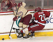 Melissa Bizzari (BC - 4), Michelle Picard (Harvard - 20) - The Boston College Eagles defeated the visiting Harvard University Crimson 3-1 in their NCAA quarterfinal matchup on Saturday, March 16, 2013, at Kelley Rink in Conte Forum in Chestnut Hill, Massachusetts.