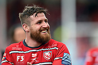 Ben Morgan of Gloucester Rugby is all smiles after the match. Gallagher Premiership match, between Gloucester Rugby and Bath Rugby on April 13, 2019 at Kingsholm Stadium in Gloucester, England. Photo by: Patrick Khachfe / Onside Images