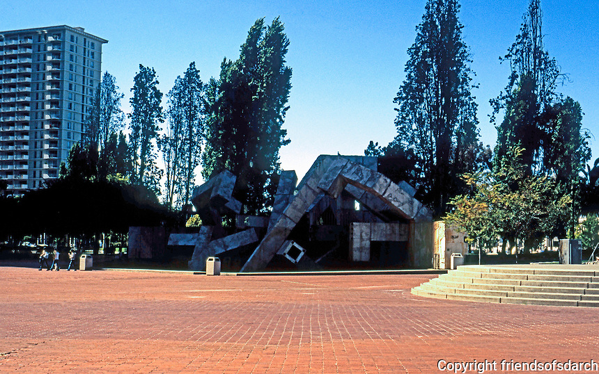"""San Francisco, Embarcadero , """"Justin Herman"""" Plaza, 1971. Lawrence Halprin. (In 2004--typically deserted, fountain out of order.)"""