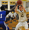 Kevin Voigt #23 of Massapequa, right, gets pressured by David Wells #1 of Hempstead during a Nassau County Conference AA-1 varsity boys basketball game at Massapequa High School on Wednesday, Jan. 17, 2018. Massapequa won by a score of 50-44.