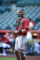 Arizona Diamondbacks catcher Andy Yerzy (27) during an Instructional League game against the Oakland Athletics on October 15, 2016 at Chase Field in Phoenix, Arizona.  (Mike Janes/Four Seam Images)