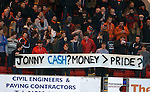 Dundee Utd fans banner at the start of the match