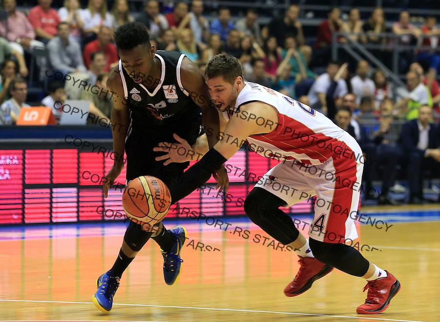 Kosarka Kosarkaska Liga Srbije season 2014-2015<br /> Crvena Zvezda v Partizan<br /> Stefan Jovic (R) and Boris Dallo<br /> Belgrade, 05.17.2015.<br /> foto: Srdjan Stevanovic/Starsportphoto &copy;