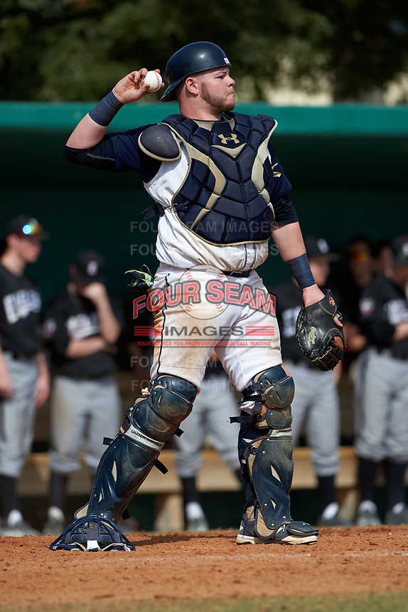 Lasell Lasers catcher Matt Haskell (25) during the first game of a doubleheader against the Edgewood Eagles on March 14, 2016 at Terry Park in Fort Myers, Florida.  Edgewood defeated Lasell 9-7.  (Mike Janes/Four Seam Images)