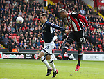 Leon Clarke of Sheffield Utd heads towards goal during the championship match at the Bramall Lane Stadium, Sheffield. Picture date 14th April 2018. Picture credit should read: Simon Bellis/Sportimage