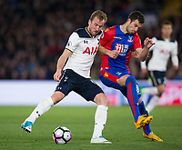 Tottenham Hotspur's Harry Kane under pressure from Crystal Palace's Luka Milivojevic     <br /> <br /> <br /> Photographer Craig Mercer/CameraSport<br /> <br /> The Premier League - Crystal Palace v Tottenham Hotspur - Wednesday 26th April 2017 - Selhurst Park - London<br /> <br /> World Copyright &copy; 2017 CameraSport. All rights reserved. 43 Linden Ave. Countesthorpe. Leicester. England. LE8 5PG - Tel: +44 (0) 116 277 4147 - admin@camerasport.com - www.camerasport.com