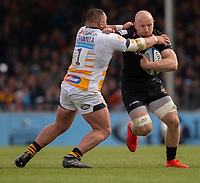 Exeter Chiefs' Matt Kvesic is tackled by Wasps' Zurabi Zhvania<br /> <br /> Photographer Bob Bradford/CameraSport<br /> <br /> Gallagher Premiership - Exeter Chiefs v Wasps - Sunday 14th April 2019 - Sandy Park - Exeter<br /> <br /> World Copyright © 2019 CameraSport. All rights reserved. 43 Linden Ave. Countesthorpe. Leicester. England. LE8 5PG - Tel: +44 (0) 116 277 4147 - admin@camerasport.com - www.camerasport.com