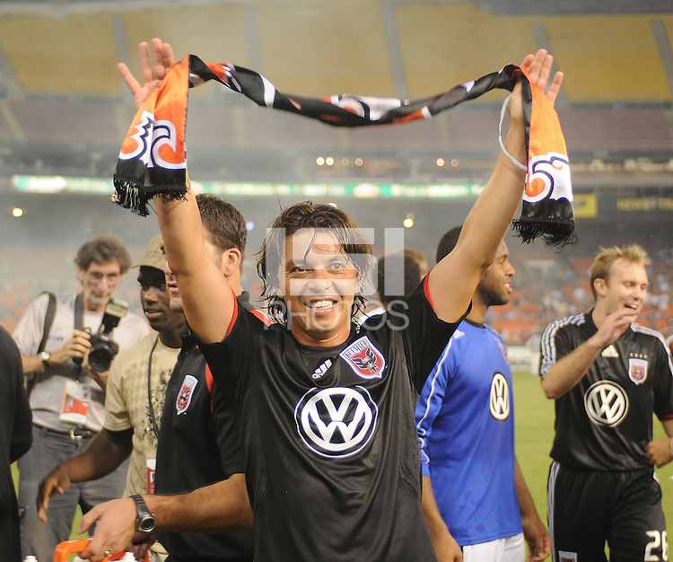 DC United midfielder Marcelo Gallardo (10) celebrates with fans after the win, DC United defeated The Charleston Battery 2-1, to win the  Lamar Hunt U.S. Open Cup at RFK Stadium in Washington DC, Saturday September 3, 2008.