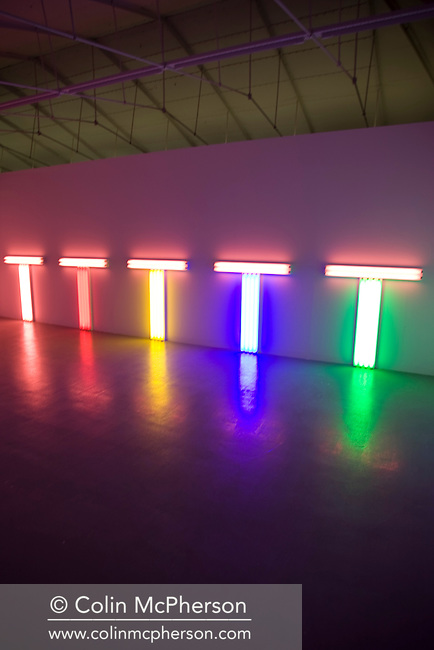 'Untitled (to Don Judd, colorist), 1-5' (1987) by Dan Flavin, one of the pieces of work on display at the Tate Liverpool as part of 'Colour Chart: Reinventing Colour, 1950 to Today', which opens to the public on 29th May, 2009 and runs until 13th September. The show features paintings, installations and designs from many of the world's leading contemporary artists and is organised by The Museum of Modern Art (MoMA) in New York City.