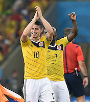 FUSSBALL WM 2014                ACHTELFINALE Kolumbien - Uruguay                  28.06.2014 James Rodriguez (Kolumbien) jubelt nach dem Abpfiff