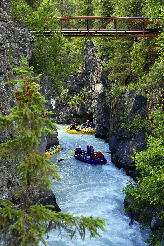 White Water Rafting Six Mile Creek, Kenai Peninsula, Chugach National Forest, Alaska.