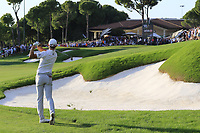 Haotong Li (CHN) plays his 2nd shot on the 18th hole at the end of Sunday's Final Round of the 2018 Turkish Airlines Open hosted by Regnum Carya Golf &amp; Spa Resort, Antalya, Turkey. 4th November 2018.<br /> Picture: Eoin Clarke | Golffile<br /> <br /> <br /> All photos usage must carry mandatory copyright credit (&copy; Golffile | Eoin Clarke)