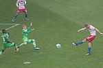 12.05.2018, Volksparkstadion, Hamburg, GER, 1.FBL. Hamburger SV vs Borussia Moenchengladbach,  im Bild   <br /> <br /> Aaron Hunt (Hamburger SV #14)<br /> Oscar Wendt (Moenchengladbach #17)<br /> <br /> <br /> Foto &copy; nordphoto / Kokenge