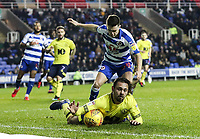 Blackburn Rovers' Bradley Dack goes to ground in the penalty area under pressure from Reading's Liam Kelly  <br /> <br /> Photographer Andrew Kearns/CameraSport<br /> <br /> The EFL Sky Bet Championship - Reading v Blackburn Rovers - Wednesday 13th February 2019 - Madejski Stadium - Reading<br /> <br /> World Copyright © 2019 CameraSport. All rights reserved. 43 Linden Ave. Countesthorpe. Leicester. England. LE8 5PG - Tel: +44 (0) 116 277 4147 - admin@camerasport.com - www.camerasport.com