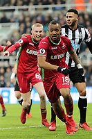 Jordan Ayew of Swansea City celebrates his opening goal during the Premier League match between Newcastle United and Swansea City at St James' Park, Newcastle, England, UK. Saturday 13 January 2018