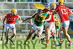 James Godley of Kilmoyley in action against Darren Golden of Monaleen at the Gaelic Grounds, Limerick<br /> <br /> Photo: Oisin McHugh True Media