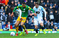 Preston North End's Lukas Nmecha battles with Blackburn Rovers' Amari'i Bell and Joe Rothwell<br /> <br /> Photographer Alex Dodd/CameraSport<br /> <br /> The EFL Sky Bet Championship - Blackburn Rovers v Preston North End - Saturday 9th March 2019 - Ewood Park - Blackburn<br /> <br /> World Copyright © 2019 CameraSport. All rights reserved. 43 Linden Ave. Countesthorpe. Leicester. England. LE8 5PG - Tel: +44 (0) 116 277 4147 - admin@camerasport.com - www.camerasport.com