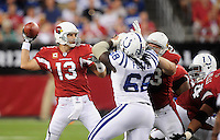 Sept. 27, 2009; Glendale, AZ, USA; Arizona Cardinals quarterback (13) Kurt Warner throws a pass in the first quarter against the Indianapolis Colts at University of Phoenix Stadium. Mandatory Credit: Mark J. Rebilas-